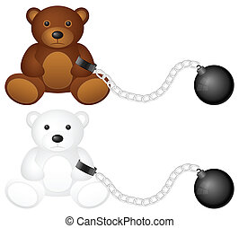 shackles with teddy bear - Shackles with teddy bear on a...