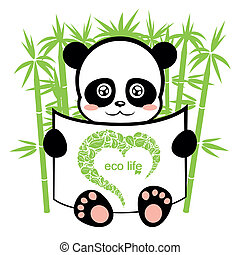 panda in the bamboo forest, ecological background on animal...