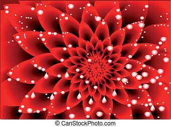 dahlia red with drops of water