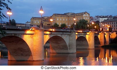 Old bridge over Ebro. Logrono - Old bridge (Puente da...