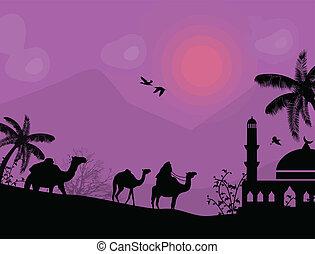 Bedouin camel caravan in arabian landscape on lila sunset,...