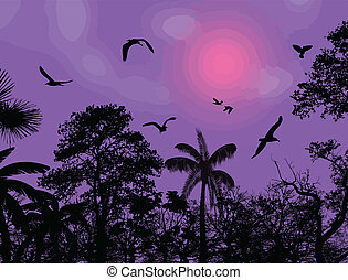 Abstract nature background with birds and trees
