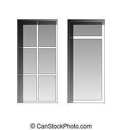 Vector windows - collection of two windows on a white...