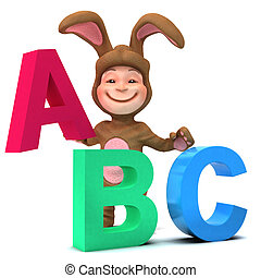 3d Kid in bunny costume learns the alphabet