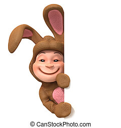 3d Kid in bunny costume behind blank space - 3d render of a...