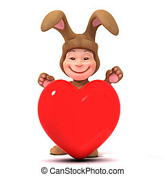 3d Kid in bunny costume behind red heart - 3d render of a...