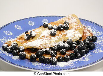 pancake with blue berries - fresh blueberry-pancake