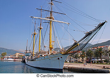 sail ship at the pier in Tivat, Montenegro. - TIVAT,...
