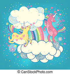 Card with a cute unicorns rainbow in the clouds Vector...