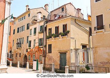 House on a narrow street in the Italian city of Venice, Italy