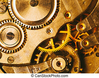 Clockwork Background Close-up Of Old Clock Watch Mechanism...