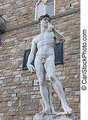 Nude statue of David, Piazza della Signoria, Florence, Italy