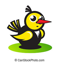 Vector bird - Yellow bird character isolated on white...