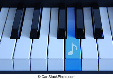 Piano with an audio key - Piano with an blue marked audio...