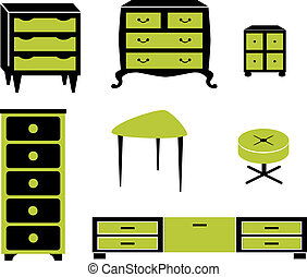 Set silhouettes of cupboard chests black interior - Set of...