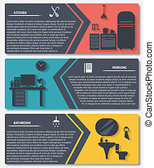info graphic of house interior vector banners - info graphic...