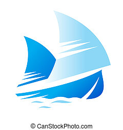 Blue Ship sign - Branding identity corporate logo isolated...