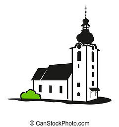 Vector church building - The church is isolated on a white...