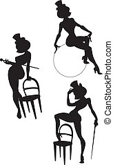 Silhouettes of perfomance burlesque artist - silhouettes of...