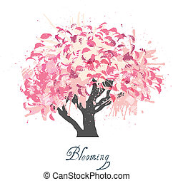 Apple tree blossom sketch - Decorative colorful apple tree...