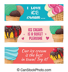 Set of banners with ice-cream - Set of sweet ice-cream...