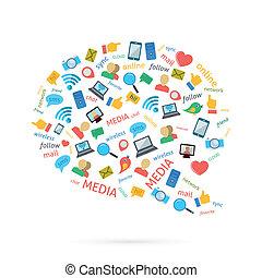 Social Talk Bubble - Social media computer networks symbols...