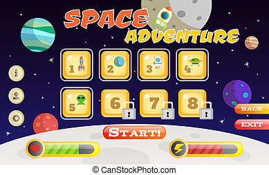 Scifi game interface - Scifi space adventure game user...