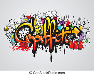 Graffiti characters composition print - Decorative graffiti...