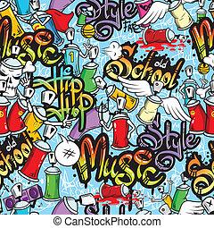Graffiti characters seamless pattern - Decorative graffiti...
