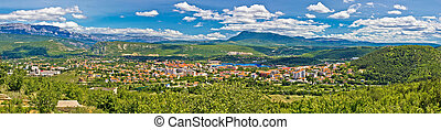 Dinara mountain and town of Knin panoramic view, Croatia