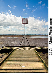 Old lifeboat jetty at Lytham St Annes - View of beacon on...