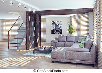 living room interior - modern living room interior....
