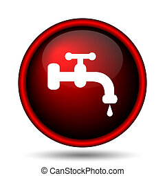 Water tap icon Internet button on white background
