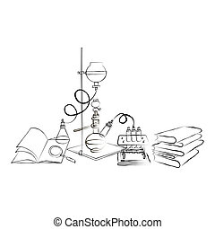 Doodle Chemical Laboratory - Science icons doodles Chemical...