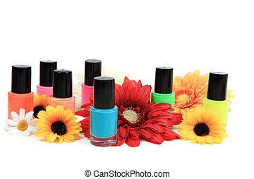 nail polish (color set) isolated on the white background