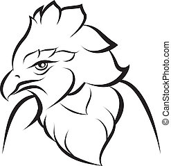 Line art of crown eagle on white background