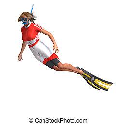 femme, plongeur, Snorkel