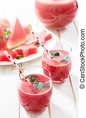 Red melon juice - Watermelon juice in the glass.Selective...