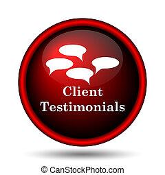 Client testimonials icon. Internet button on white...