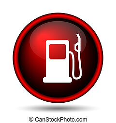 Gas pump icon. Internet button on white background.