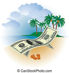 Money on Vacation - hundred dollar bills on a background of...