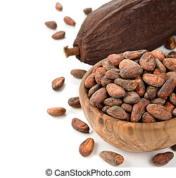 Cocoa beans in a wooden bowl on white background