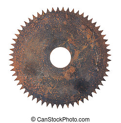 rusted circular saw isolated