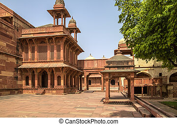 Fatehpur Sikri fort - Courtyard of a palace, Panch Mahal,...