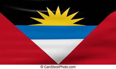 Waving Antigua and Barbuda Flag, ready for seamless loop