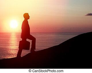 man walking on rock