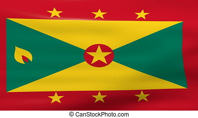Waving Grenada Flag, ready for seamless loop.