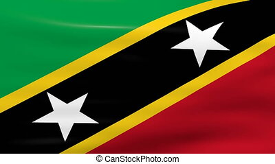 Waving Saint Kitts and Nevis Flag