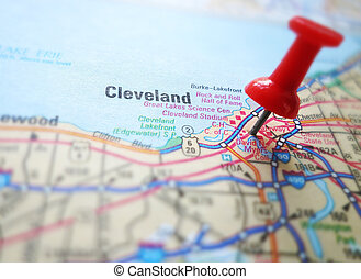 Cleveland - Closeup of a map of Cleveland Ohio with red push...