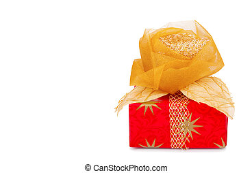 Beautiful gift box in gold paper with silk rose isolated on...
